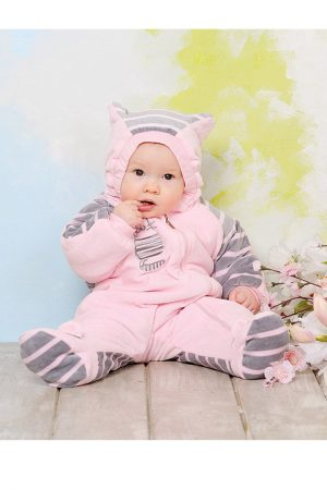 розовый велюровый комбинезон с ушками котик
