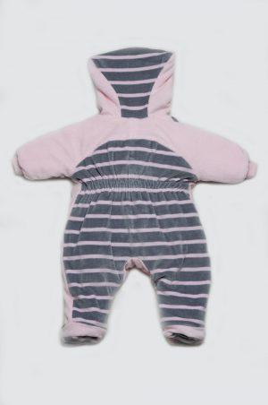 комбинезон серо-розовый котик