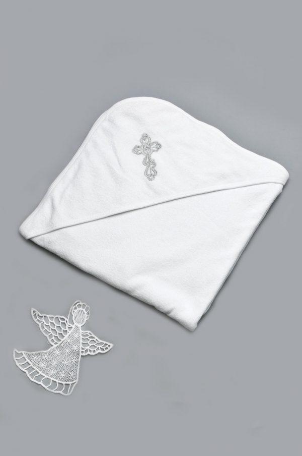 белая махровая крыжма с серебряной вышивкой крестик купить