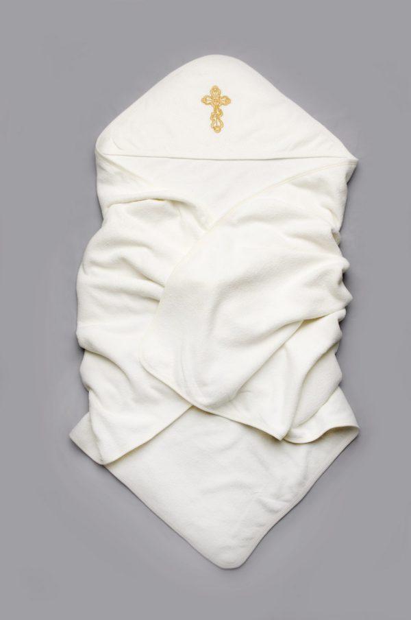 махровая крыжма с золотой вышивкой крестик молочная недорого