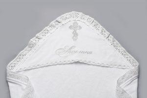 махровая крыжма с вышивкой серебром кружевом