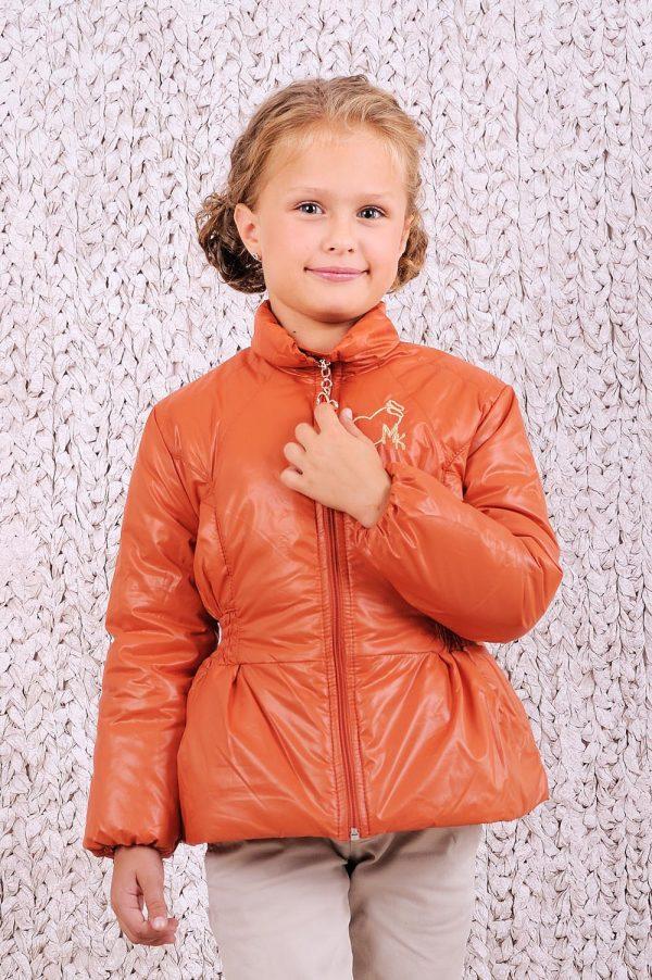 красивая куртка деми цвет терракот для девочки недорого