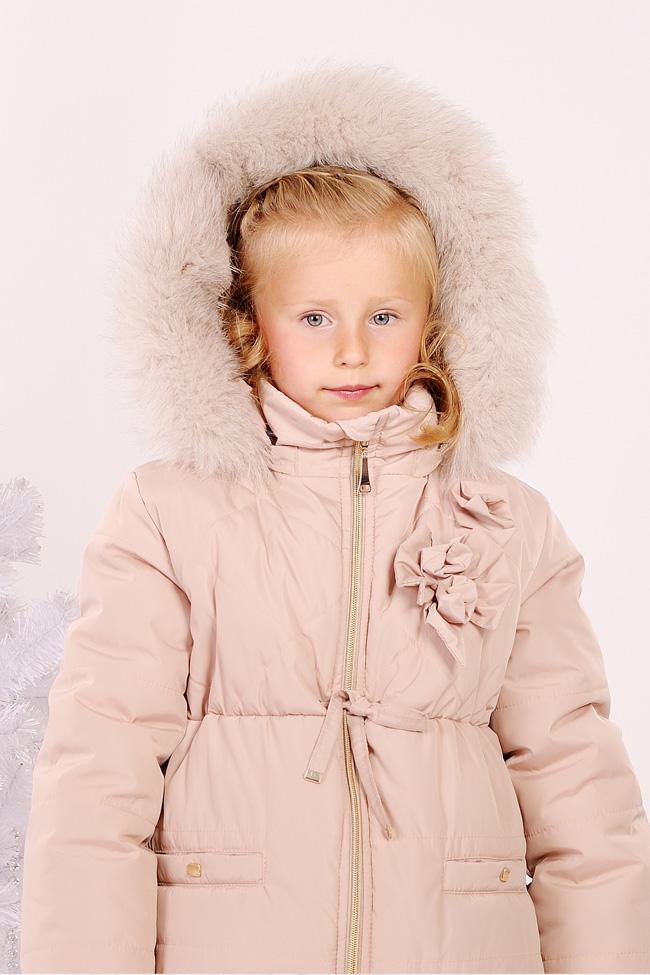 86c33e21 Тёплая зимняя куртка для девочки кремового цвета качественного пошива
