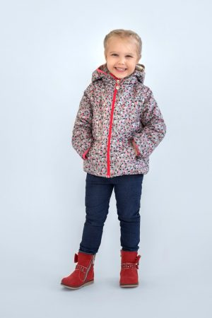детская демисезонная куртка трансформер яблочки недорого