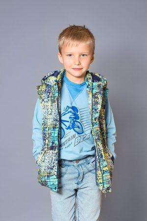 утепленная куртка жилет для мальчика принт пиксели купить Харьков
