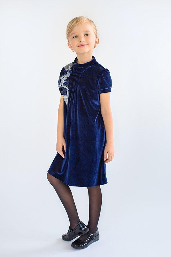 синее бархатное платье детское недорого