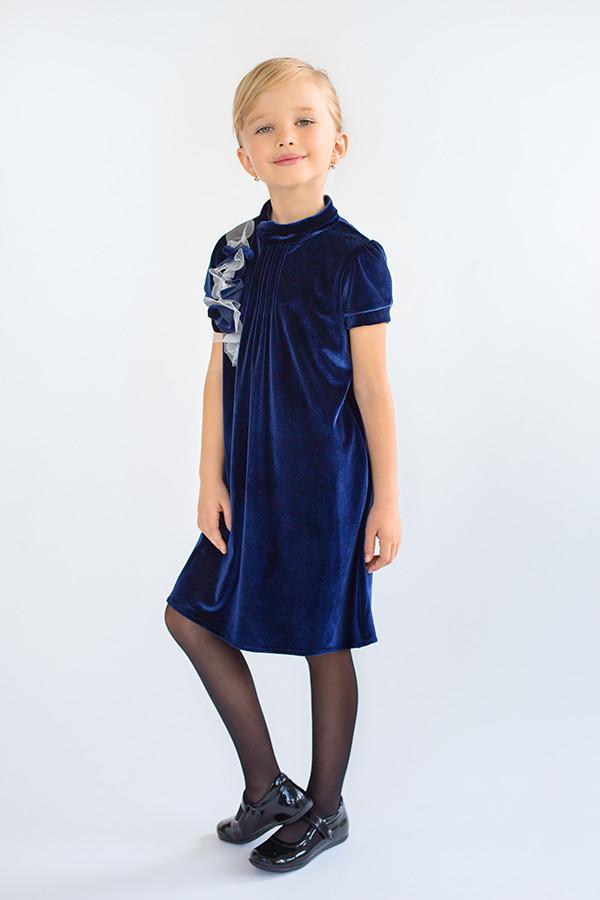 d2ba1ea24da Платье для девочки нарядное из бархата на праздник темно-синее