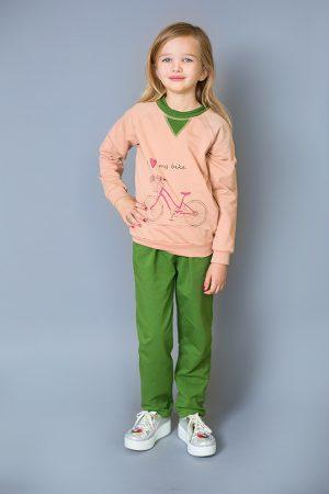 стильный реглан пудра с зеленым брюки спортивные зеленые для девочки недорого