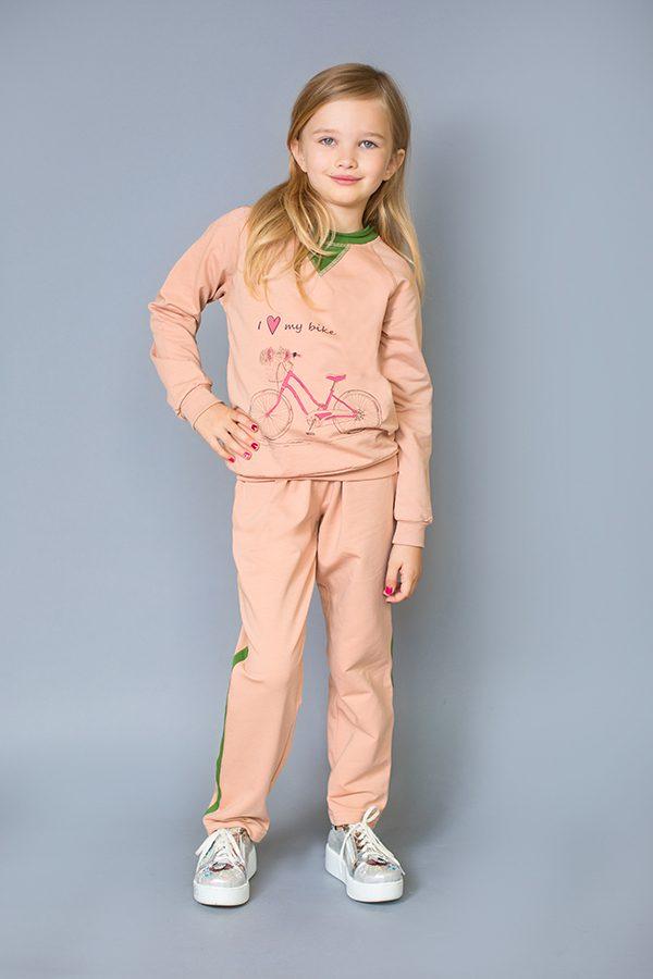 реглан спортивные брюки пудра с зеленым для девочки недорого