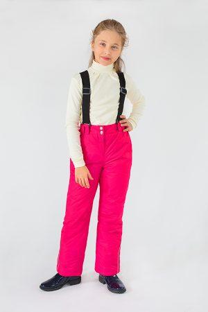 зимние брюки на подтяжках для девочки недорого