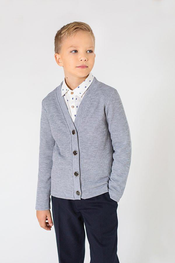 недорогой кардиган школьный светло-серый для мальчика