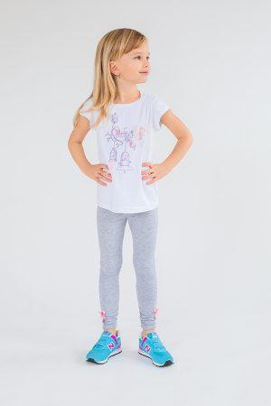 детские лосины серые футболка белая для девочки