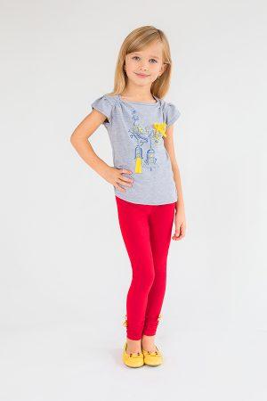 детские красные лосины футболка серая для девочки