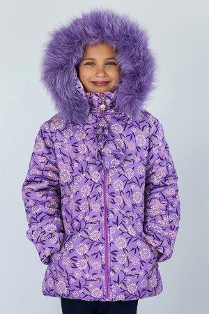 теплая детская куртка сиреневая зимняя доставка