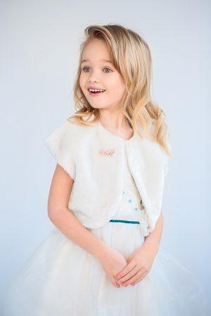 болеро меховая накидка на плечи с декором брошью для девочки Киев