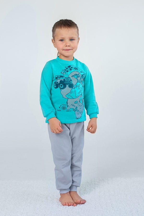 2b5a443e57d41 Утепленная детская пижма для мальчика из футера серый+мята