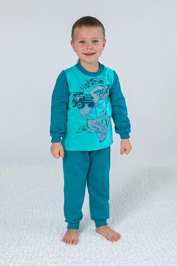 3e497c35ed359 Теплая пижама для мальчика из футера мята+изумруд купить недорого