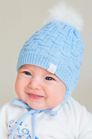 шапочка вязаная с подкладкой флис купить для мальчика Киев