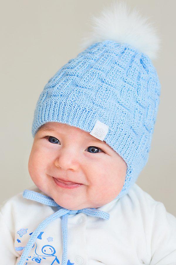 вязанная зимняя шапка для новорожденного мальчика с бубоном