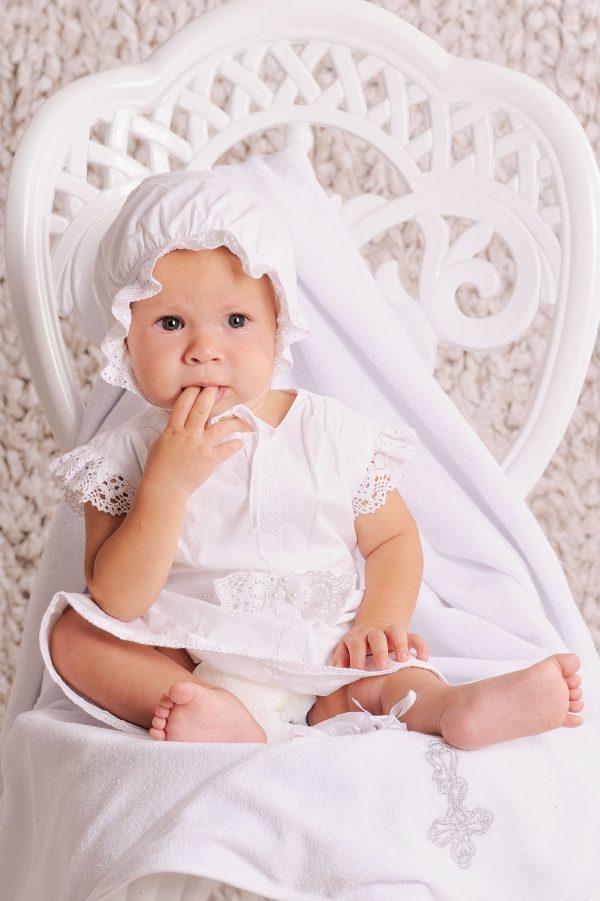 крестильный набор рубашка с льняным кружевом для девочки купить