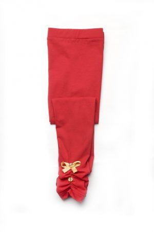 стрейчевые лосины хлопок для девочки красные от производителя
