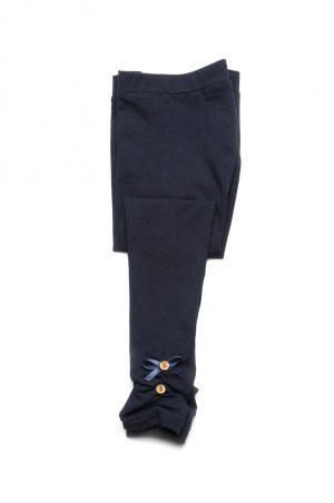синие лосины с бантиком и пуговицами для девочек