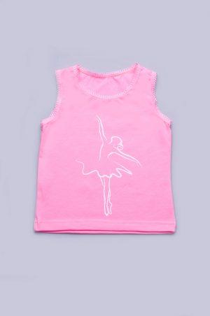 майка для девочки на широких бретелях розовая недорого