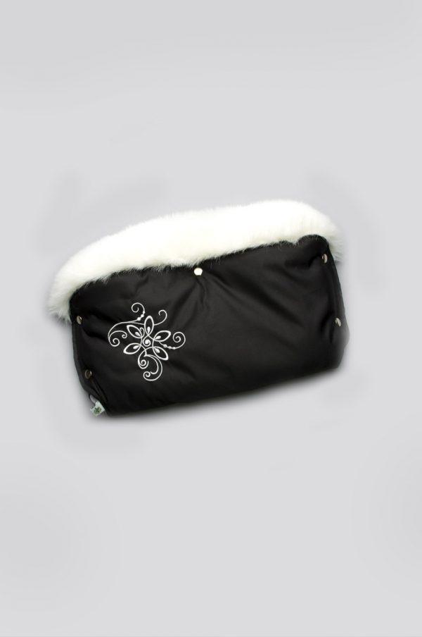 муфта черная с белой вышивкой опушкой купить Харьков