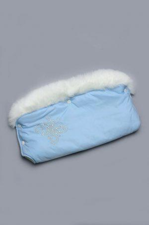 зимняя муфта голубая с опушкой купить Украина
