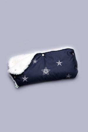 муфта на овчине с вышивкой снежинки синяя