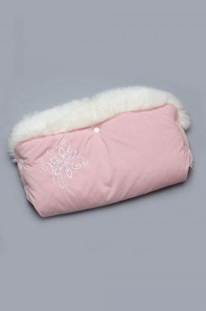 розовая муфта с опушкой вышивкой недорого