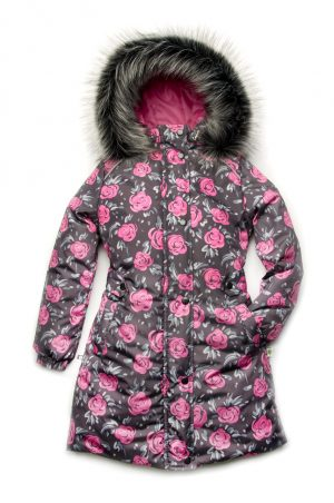детская удлиненная куртка пальто принт розы зимняя
