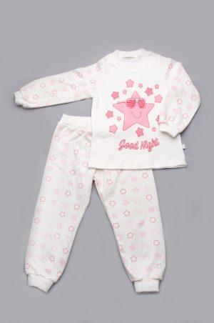 детская пижама розовые звезды интерлок недорого