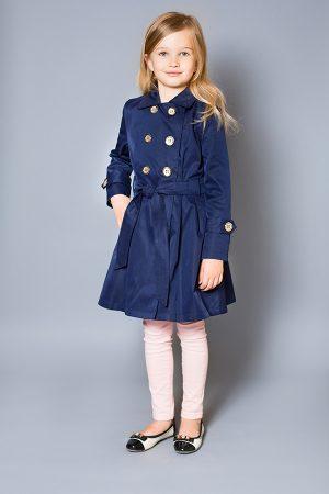 темно-синий плащ для девочки с золотыми пуговицами недорого