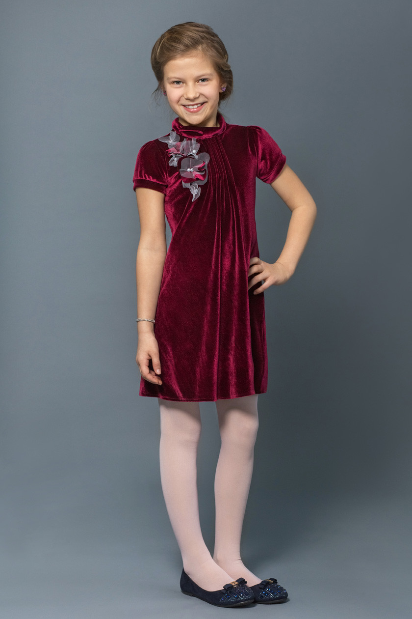 40f579794349443 Модельное платье для девочки бордовое на торжество купить с доставкой