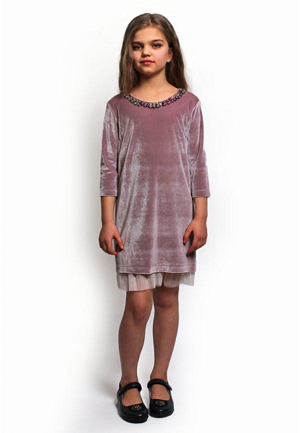 нарядное платье из бархата с декором камушки