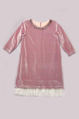 красивое бархатное платье с камушками детское недорого