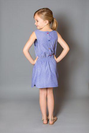 платье деним в горошек с разноцветными пуговицами для девочки