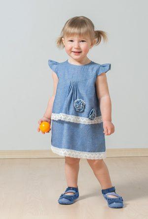 купить платье джинсовое кружево цветок для девочки недорого
