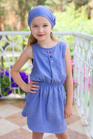 легкое платье для девочки деним в горошек купить с доставкой