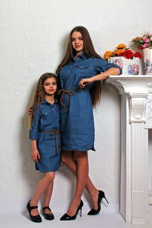 джинсовое платье фэмили лук женское детское недорого