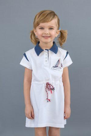летнее детское платье с канатиком в морском стиле