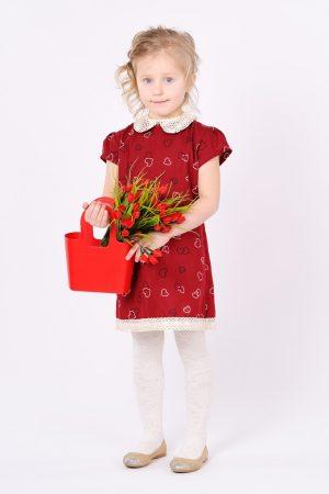 купить детское платье сердечки со съемным воротником кружево