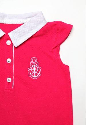 детское платье с вышивкой якорь малиновое