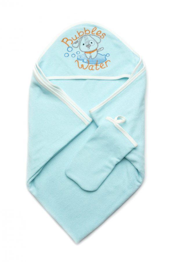 полотенце с уголком капюшоном рукавичкой махровое для новорожденного мальчика