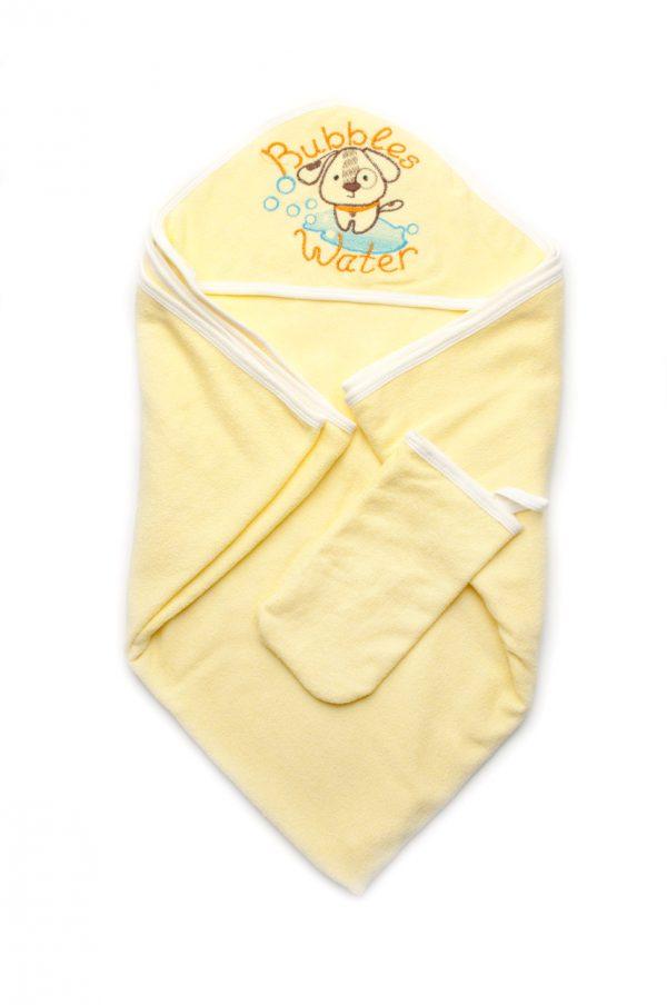 полотенце с капюшоном рукавичкой мочалкой махра для новорожденных унисекс