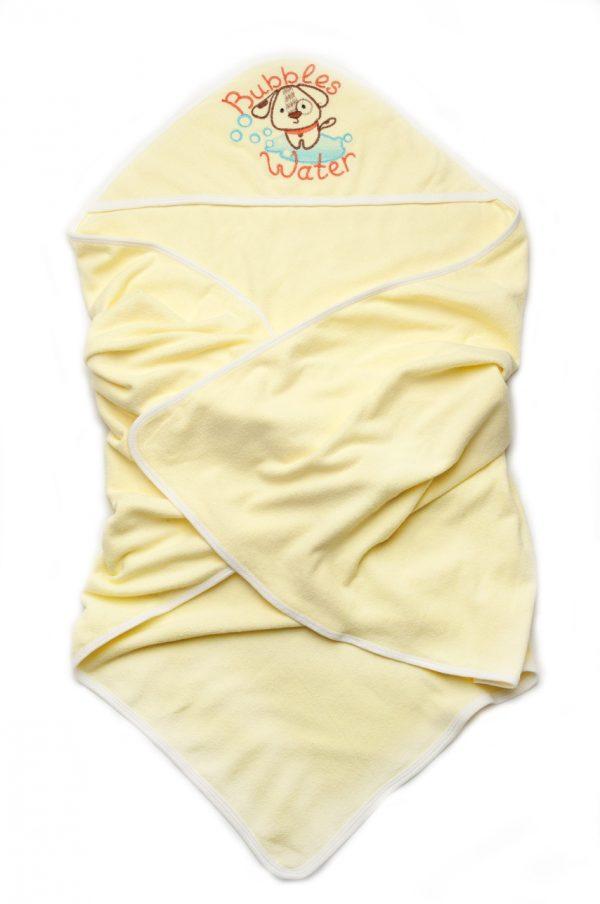 полотенце махровое желтое с капюшоном для новорожденных унисекс