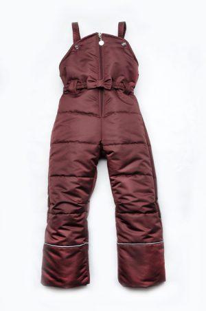 детский зимний полукомбинезон брюки бордовый с бантом на поясе