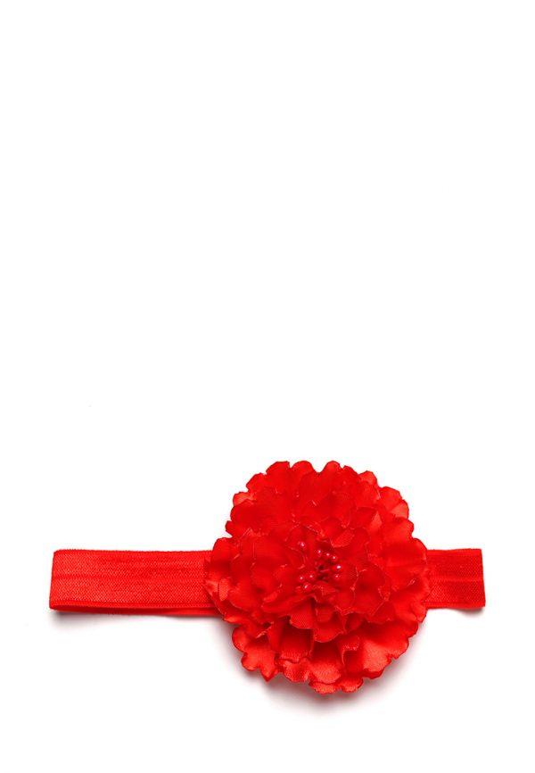 красная повязка ручной работы с цветком детская