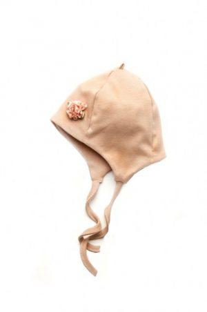 недорогая шапка трикотажная с цветком пудра